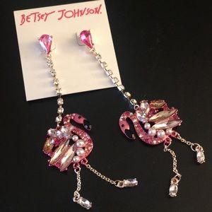 NOC Betsey Johnson Flamingo Sparkle Post Earrings